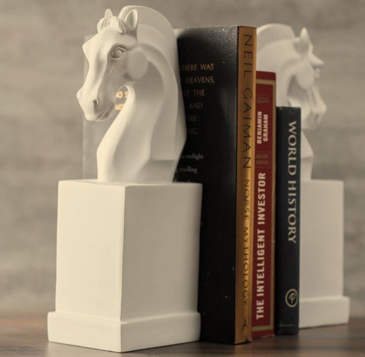 Urban Trends Ceramic Horse Head on Cylindrical Base Bookend Assortment of Two